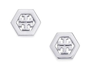 Tory Burch New Tory Burch Small Hex-Logo Studs in SILVER