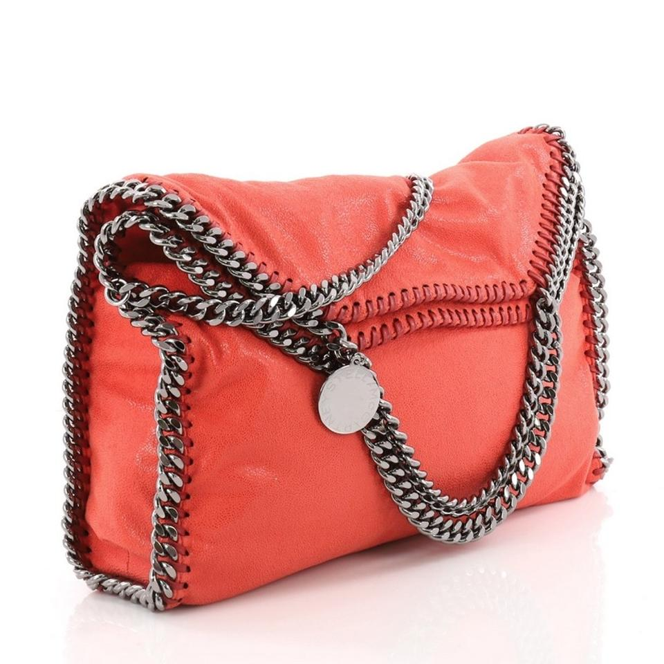 fccb4a6486 Stella McCartney Falabella Fold Over Red Orange Shaggy Deer Tote ...