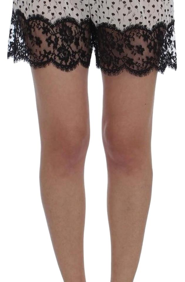 Dolce Gabbana D30077-2 Women s Floral Lace Silk Sleepwear Mini Short Shorts  White   Black ... 1b2e886b0