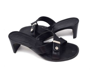 Chanel Vintage Classic Black Sandals