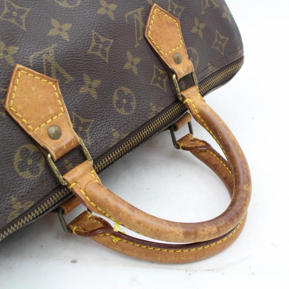 6ab79f63 Louis Vuitton Speedy 30 M41526 Monogram Handbag 11069 Brown Canvas Wristlet