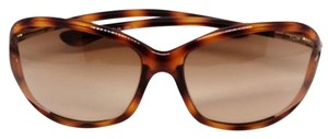Tom Ford Women Oval Sunglasses Plastic Frame with Brown Gradient Lens