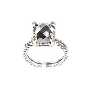 David Yurman Chatelaine Ring with Hematine & Diamonds 11mm Sz 5 $650 NWOT