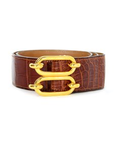Hermès Brown Alligator Fonsbelle Belt W/ Gold Buckle Sz 70/28