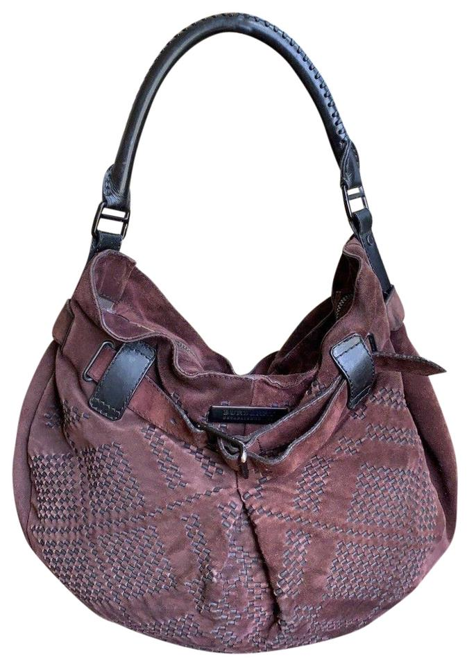8f288c4fe4c0 Burberry Vintage Medium Chocolate Brown   Black Suede Leather Hobo ...