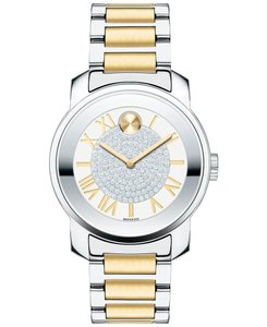 Movado New Bold Stainless Bracelet Pave Crystal Dial 3600256 Petite Swiss