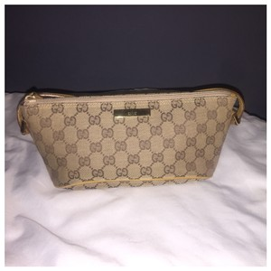 Gucci Authentic Gucci Monogram Logo GG Brown Canvas Cosmetic Pouch Bag