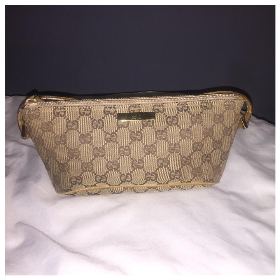 1fcaf5bb72c Gucci Authentic Gucci Monogram Logo GG Brown Canvas Cosmetic Pouch Bag  Image 0 ...