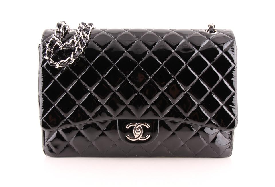 bb821d5401b1 Chanel Classic Flap Quilted Classic Maxi Double Black Patent Leather ...