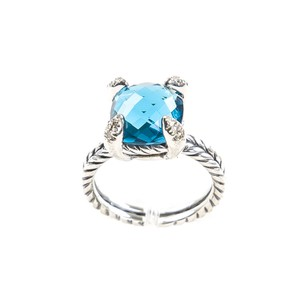 David Yurman Chatelaine Ring with Hampton Blue Topaz & Diamonds 11mm Sz 8 $800 NWOT