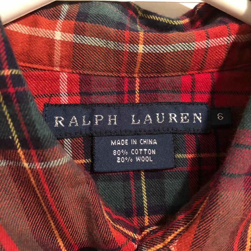 6e51ddb5 Ralph Lauren Red Plaid Flannel Shirt Button-down Top Size 6 (S ...