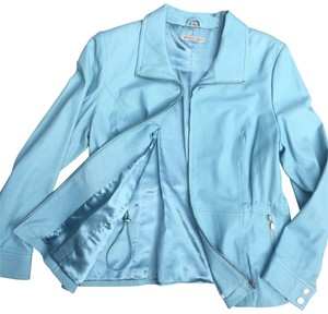 Geneva Platinum blue Leather Jacket