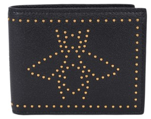 Gucci New Gucci Men's 451176 Black Leather Studded Bee Design Bifold Wallet