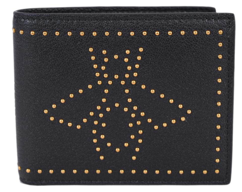 16245353937c Gucci New Gucci Men's 451176 Black Leather Studded Bee Design Bifold Wallet  Image 0 ...