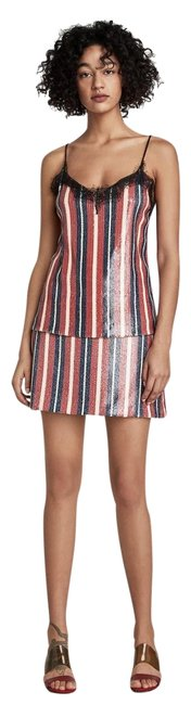 Item - Blue/Red New Sequence Stripe Skirt Size 12 (L, 32, 33)