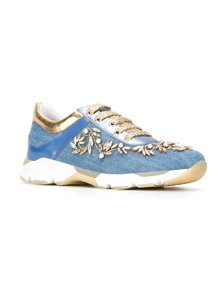 Rene Caovilla Pearl-embellished Sneakers Blue Athletic