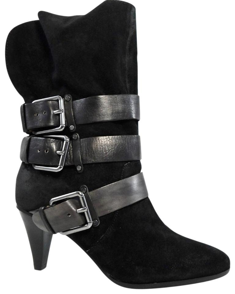 Rebecca Minkoff Black Pull Bliss Buckled Riding Mid Shaft Strappy Pull Black On Boots/Booties 93fdda