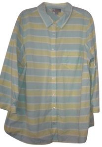 jcp 3/4 Sleeve Lightweight Plaid Button Front Button Down Shirt Mult-Color