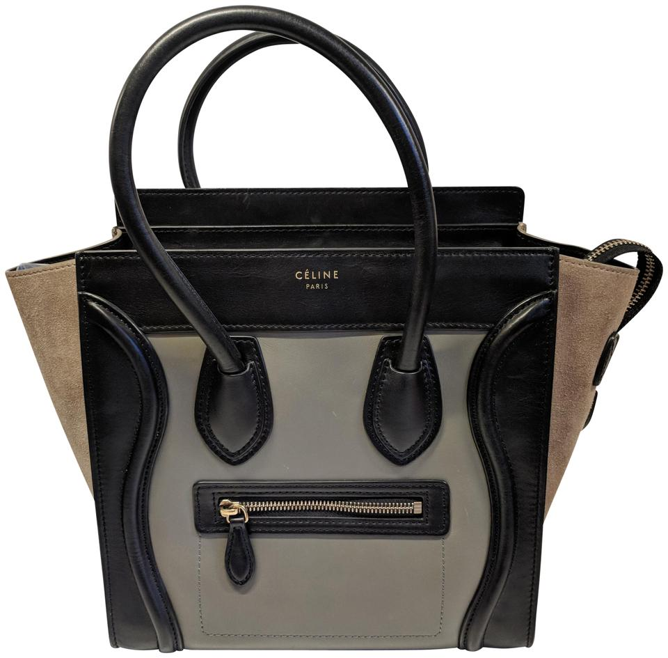 Céline Luggage Micro Color Tan Green Black Leather and Suede Tote ... 35e8e18f60272