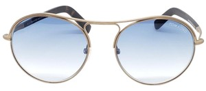 Tom Ford Women Round Sunglasses Metal Frame with Blue Gradient Lens