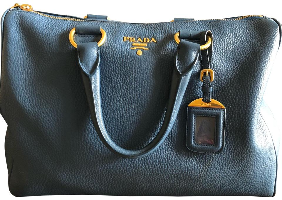 3e50f9d8d73c Prada Vitello Daino Blue Leather Satchel - Tradesy