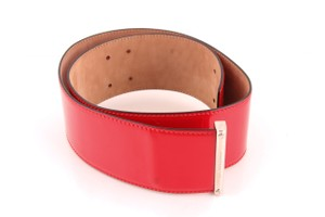 Alexander McQueen Alexander McQueen Red Patent Leather Wide Belt