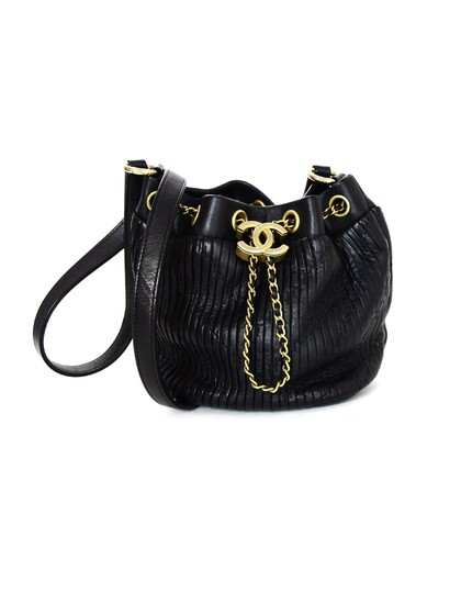554841d1e5b7 Chanel Coco Pleats Bucket Drawstring Mini Cc Chain Black Leather ...