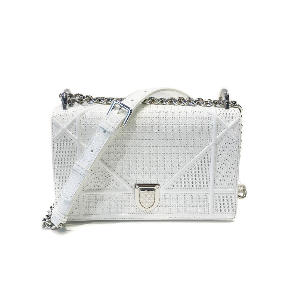 0b56c44535ad Dior Christian Perforated Calfskin Diorama Flap Small White Patent Leather  Shoulder Bag