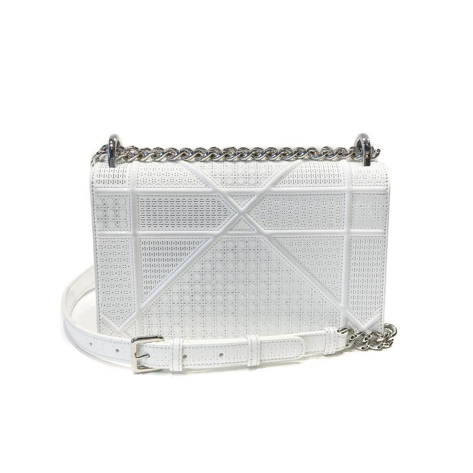 792c5a95657f Dior Christian Perforated Calfskin Diorama Flap Small White Patent Leather  Shoulder Bag - Tradesy
