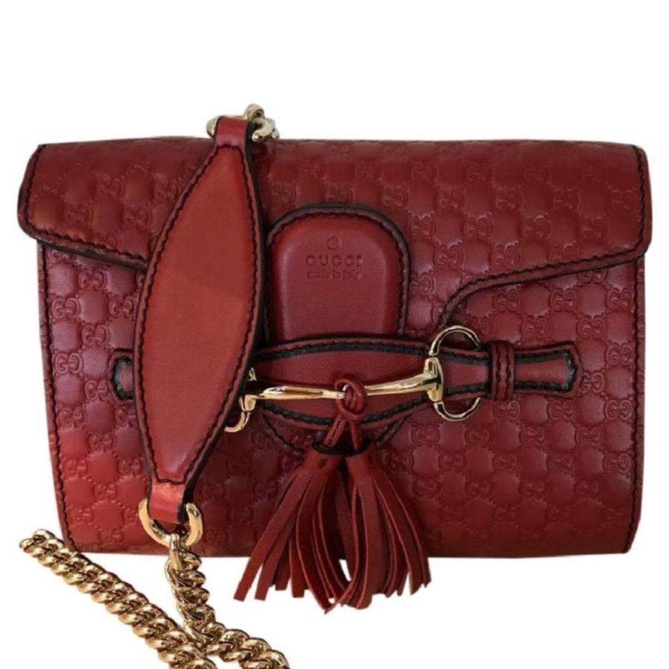 21c5a0a46550 Gucci Emily Small Red Leather Shoulder Bag - Tradesy