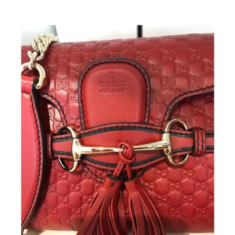 48969d08fe3 Gucci Emily Small Red Leather Shoulder Bag - Tradesy