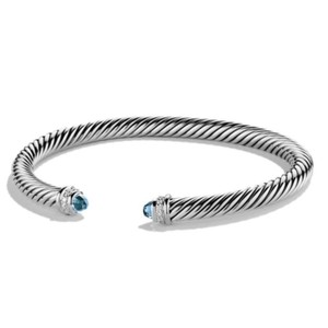 David Yurman David Yurman Classic Cable Blue Topaz Bangle Bracelet with Diamonds Sterling Silver Large 5mm Gorgeous amethyst and small round diamonds at both ends of bangle 100% Authentic Guaranteed! Comes inside original David Yurman pouch!!