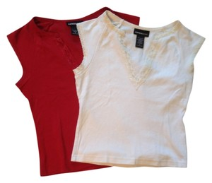 Express Lace Top Red & white