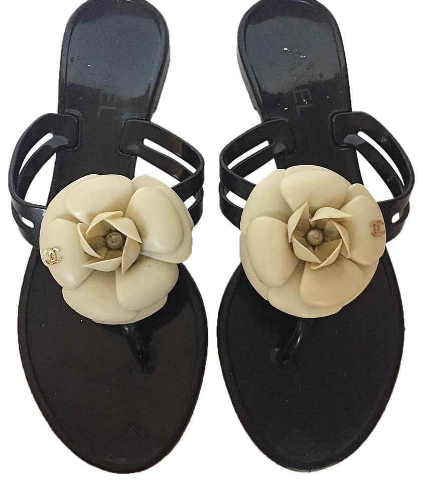 05640ec47 Chanel Black Camellia White Bow Jelly Slippers Sandals Size US 7 ...