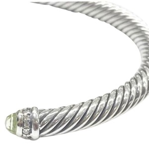 David Yurman GORGEOUS!! David Yurman Prasiolite and Diamond Cable Bracelet Cuff Sterling Silver 5mm Size: Medium 100% Authentic Guaranteed! Comes with Original David Yurman Pouch!!
