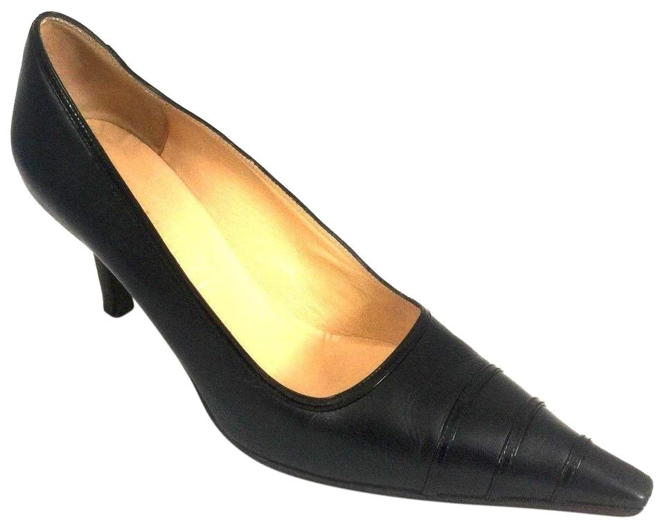 Chanel Blue Classic Navy Pointed Toe Cc Heel Leather Pumps Size US ... ccfbdf2a8