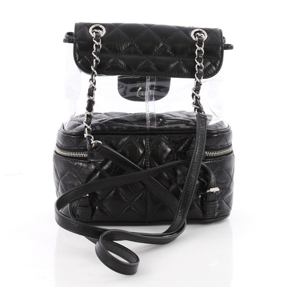 351f50deb79a Chanel Zip Around Flap Quilted Crumpled Small Black Calfskin and Pvc  Backpack - Tradesy