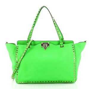 Valentino Leather Rockstud Tote in neon green