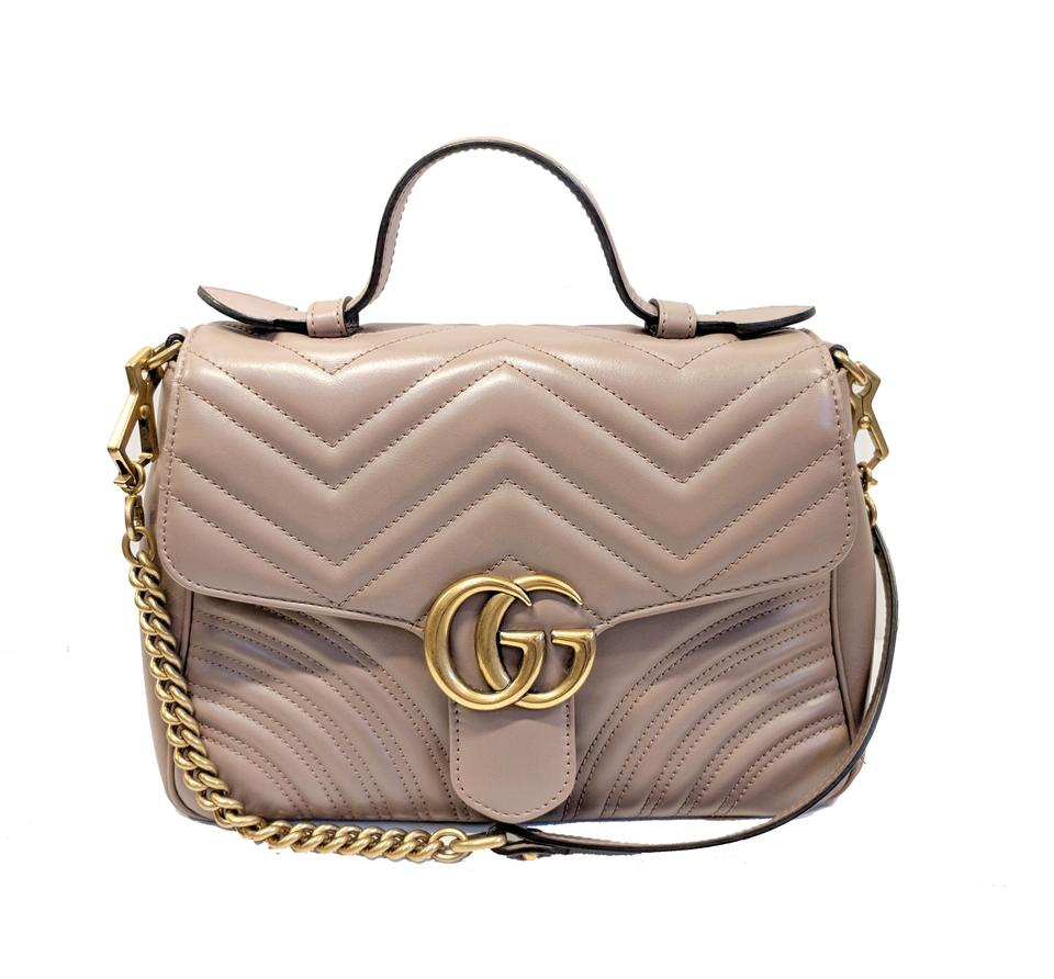 4502ca7b792c08 Gucci Marmont Small Top Handle Dusty Pink Metelasse Leather Baguette -  Tradesy