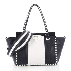 Valentino Leather Tote in blue and white