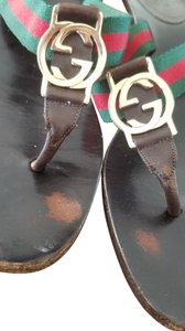 Gucci brown w/ green and red stripes Pumps