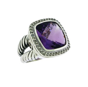 David Yurman David Yurman sterling silver Diamond & amethyst Albion Ring size 6
