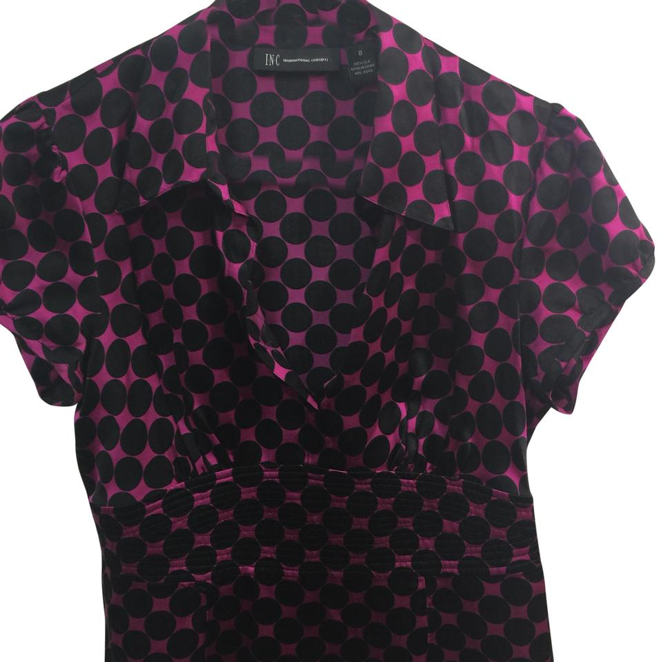 37c540763370fa INC International Concepts Black and Pink Polka Dot Blouse Size 8 (M ...