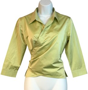 René Lezard Wrap Top Chartreuse
