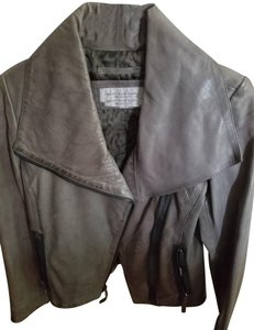 Marc New York Gray Leather Leather Jacket