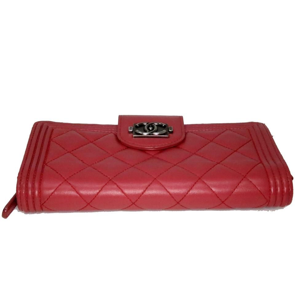 1fb516f93ade47 Chanel Le Boy Hot Pink Large CC Quilted Lambskin Leather Single Flap Wallet  Image 11. 123456789101112