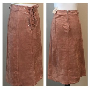 Endless Rose Faux Suede Fall Long Small Skirt blush