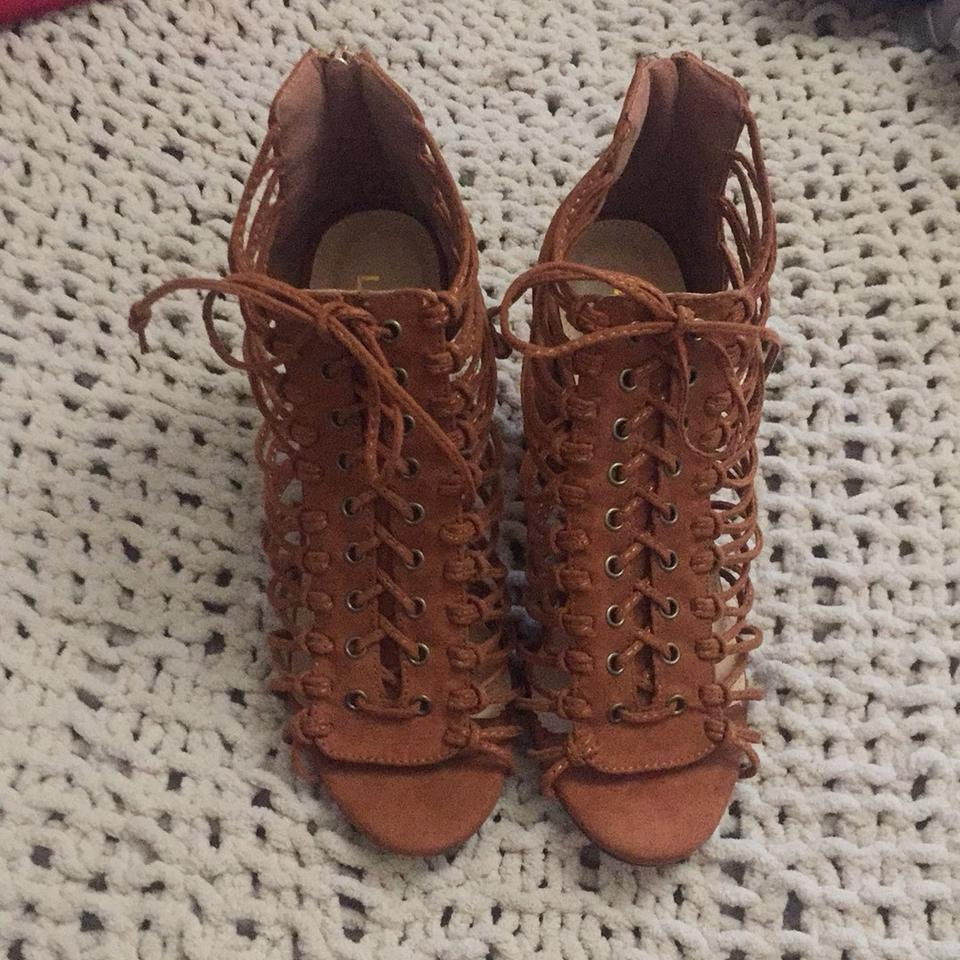 48a63054421 Nordstrom Brown Lace Up Chunky Heel Pumps Size US 6.5 Regular (M
