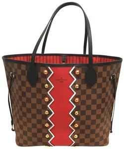 Louis Vuitton Neverfull Mm Limited Edition Karakoram Neverfull Karakoram Pattern Tote in Damier Ebene / Red