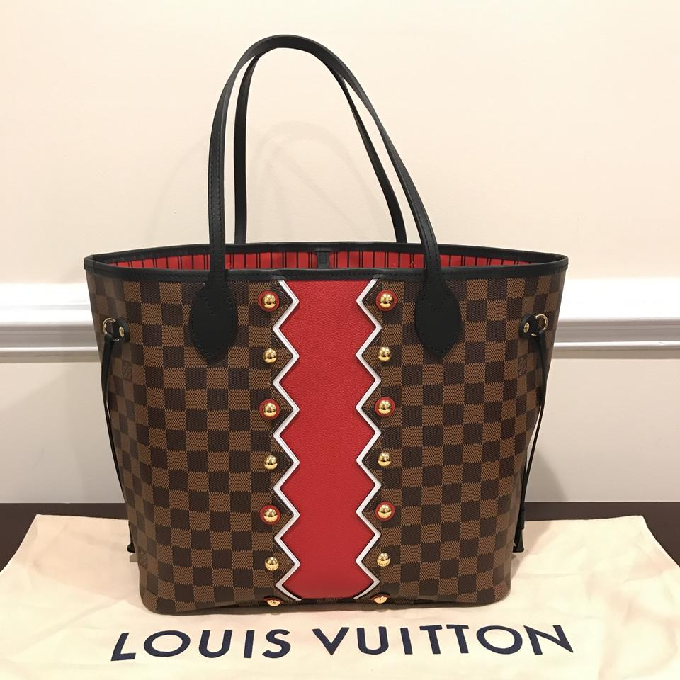 f2717a01f57c5 Louis Vuitton Neverfull Mm Limited Edition Karakoram Neverfull Karakoram  Pattern Tote in Damier Ebene   Red. 123456789101112